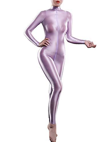 iiniim Damen Body Overall Nylon Langarm Ganzanzug Einteiler Jumpsuit Ballett Trikotanzug Tights Leggings Hose Lavendel Einheitsgröße