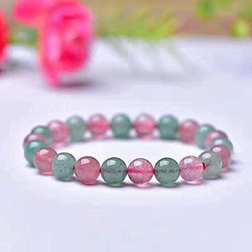 LiuliuBull 1pc 9mm Natural Strailberry Crystal Stone Redondo Beads Charm Pulsera Decoración del hogar