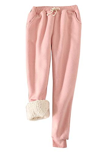 Flygo Womens Casual Winter Warm Fleece Pants Sherpa Lined Sweatpants Active Running Jogger Pants (Small, Pink)