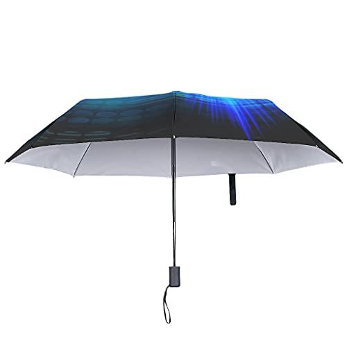 Paraguas plegable de brújula con cierre abierto automático, estilo étnico, resistente al viento, 8 varillas invertidas