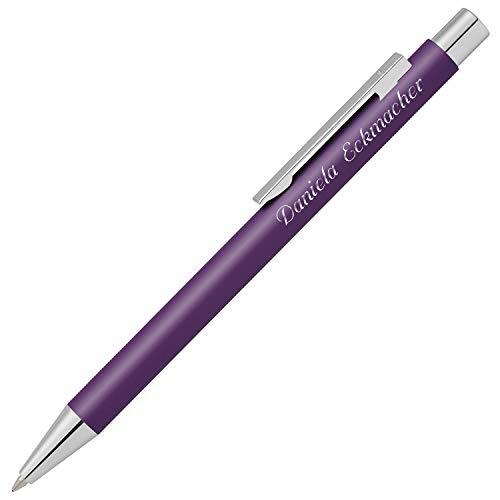 Cadenis Metall Kugelschreiber STRAIGHT SI matt violett mit persönlicher Hochglanz-Gravur