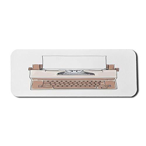 Schreibmaschine Computer Mauspad, Vintage-Stil Bild eines Dactylo mit Papier handgezeichnet, Rechteck rutschfeste Gummi Mousepad große warme Taupe Taupe grau