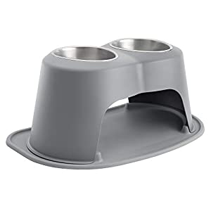 WeatherTech Double High Pet Feeding System – Elevated Dog/Cat Bowls – 12 inch High Dark Grey (DHC6412DGDG)