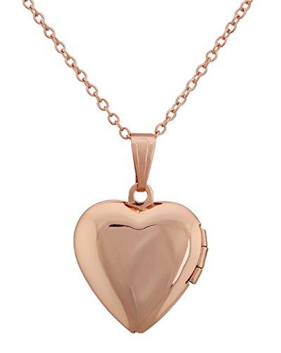 Paialco - Collar con colgante en forma de corazón para guardar fotos, 18 pulgadas, tono oro rosa
