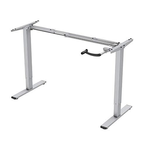 E.For.U Q3 marco de mesa ajustable con manivela de escritorio ajustable en altura (manual, plateado)