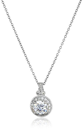 Platinum-Plated Sterling Silver and Swarovski Zirconia Round-Cut Antique Pendant Necklace, 18″