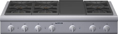 Thermador Professional : PCG486GD 48 Pro-Style Gas Rangetop 6 Pedestal Star Burners, Griddle