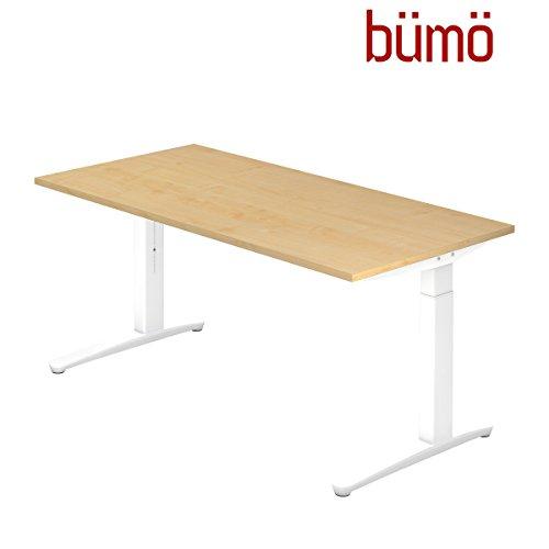 bümö® Stabiler Schreibtisch höhenverstellbar 200 x 100 cm | Designer Bürotisch in Ahorn | Büroschreibtisch mit Höheneinstellung | Tisch für Büro in 6 Größen & 7 Dekoren