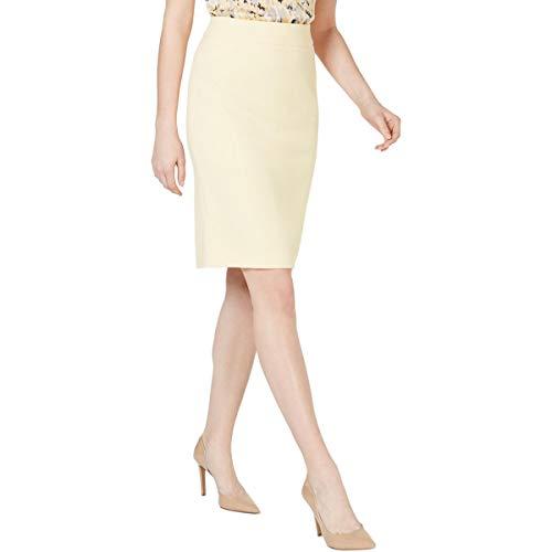 Kasper Womens Petites Crepe Above Knee Pencil Skirt Yellow 8P
