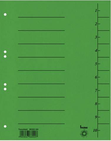 bene Trennblatt Intensiv, Karton, 210 g/m², 1-10, A4, grün (50 Stück)