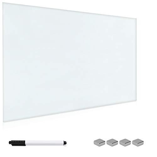Navaris Magnettafel Magnetboard aus Glas - 60x40 cm Tafel magnetisch zum Beschriften - Magnetwand in Weiß - inkl. Magnete Stift Halterung