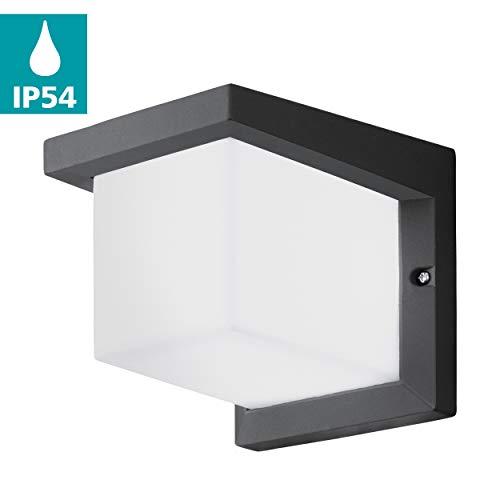 EGLO LED Außen-Wandlampe Desella 1, 1 flammige Außenleuchte, Wandleuchte aus Aluguss und Kunststoff, Farbe: Anthrazit, weiß, IP54