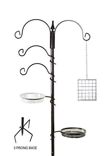 Floor Effects Deluxe Wild Bird Feeding Station - 92.5' Tall (85' Above Ground) - with Bird Bath, 3 Prong Base, Hooks and Hanging Suet Cage - Premium Bird Feeder Stand for Garden, Patio, Backyard