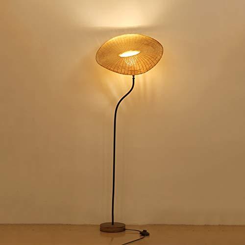 VOMI Lampadaire Bambou Rotin E14 Uplight Bois Rotatif Lampe de Salon Ancien Décoratif Lampe sur Pied Lumière Debout Avec Interrupteur au Pied Pour Salon Chambre Bureau (Ampoule 5 W Incluse),B