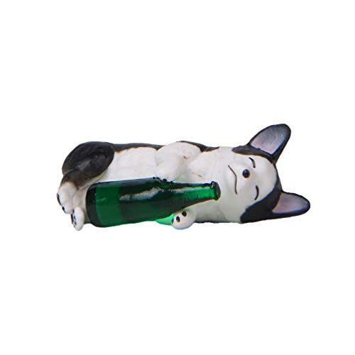 Garneck Resina Husky figurita Borracho Husky Cachorro Perro con Botella Verde Estatua...