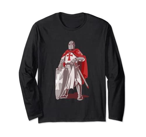 テンプル騎士団 十字軍 剣と盾 ギフト 長袖Tシャツ