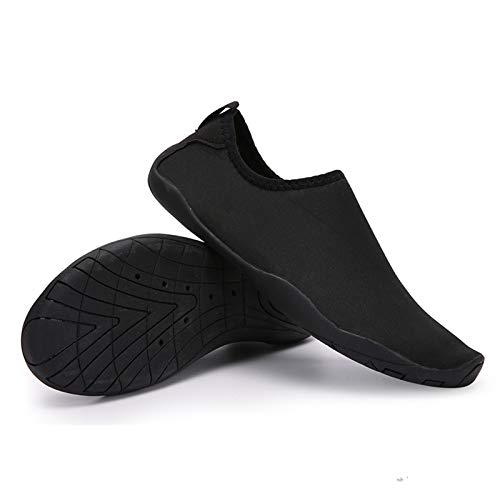 Hotroad Lightweight Barefoot Water Shoes Slip On Beach Sandals for Women Men and Kids River Camping Trip Sports Running Swim Pool Shower Stuff Aqua Yoga Socks Surf Slipper, Black, 7.5 Women/6 Men