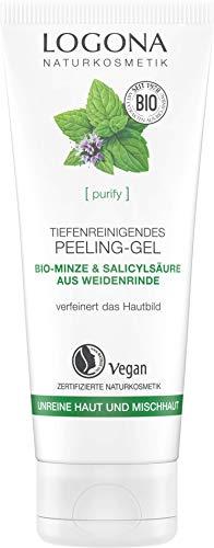 LOGONA Naturkosmetik Tiefenreinigendes Peeling-Gel, Verfeinert & erfrischt da Hautbild, Peelt sanft & befreit von abgestorbenen Hautschüppchen, Vegan, 100ml