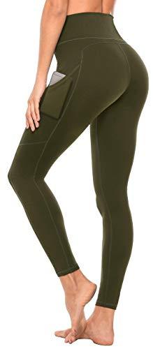 Anwell Fitness Hosen Damen High Waist Fitnesshose Stretch Fitnesshose Kompression Fitness Hose mit Tasche Fitnesshose Push Up Grün M