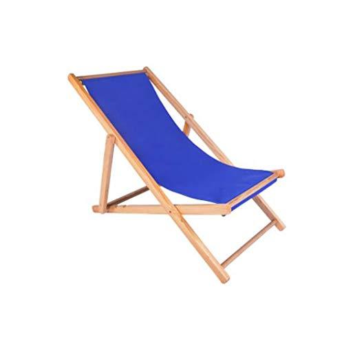 Liegestuhl Reclining Sonnenliege Holz Klappliege, Gartenliege Balkon Strandkorb Sonnenliege (Color : Dark Blue)