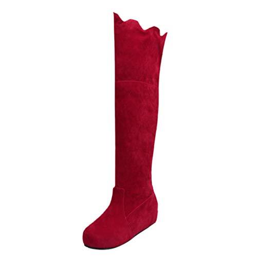 MMOOVV Winter Damen Wedges Schuhe Warm Halten Bequem Knie Schnee Stiefel Damen Atiefel mit Stretchschaft Damen Stiefel mit Glitzer Stiefeletten mit Perlen Stiefeletten mit Perlen (Rot 35EU)