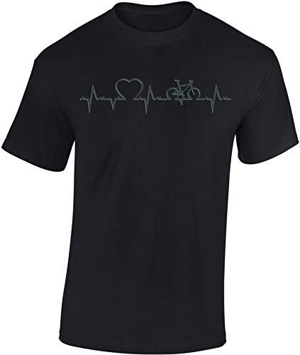 Baddery Bicicletta Maglietta: Heartbeat Bike - Cuore ECG T-Shirt Regalo Ciclista - MTB Road Bike Fixie BMX Mountain-Bike Rampichino - Tshirt Maglia Uomo Uomini Donna Streetwear Sport (XXL)