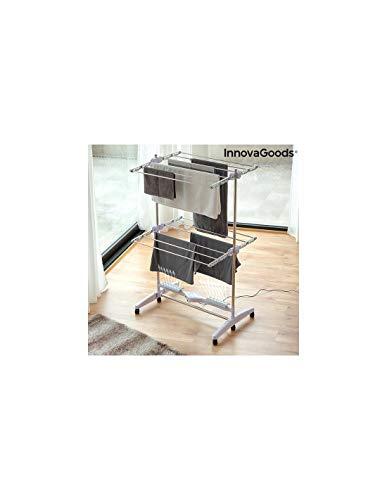 InnovaGoods Étendoir à Linge électrique Pliable (12 Barres) avec Flux d'air Breazy 24 W, Blanc, 87 x 143 x 65 cm.