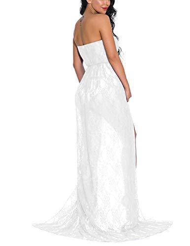 JENJON Mujer Embarazada Encaje Vestido de Fiesta Largos con Aberturas,Premamá Faldas Fotografía,Foto Shoot Dress de Maternidad Blanco S