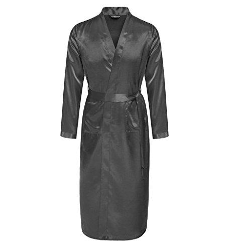 Surenow Männer Herren Satin Hausjacke Kimono Schlafanzug Schlafmantel Schlafkleid Morgenmantel Nachtwäsche Pyjamas Bademantel Grau