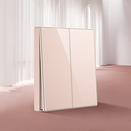 SYunxiang Pink 1-3Gang Interruptor de luz de panel de vidrio de cristal de 2 vías Botón de encendido y apagado Interruptor de pared Interruptor 16A Interruptor 86 Tipo Instalación oculta para el hogar