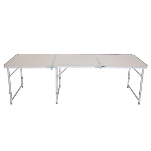 180 x 60 x 70cm Home Use Aluminum Alloy Folding Table White Folding Desk Portable Lifetime Height Adjustable for Outdoor Picnic Party Dining Camping(US Stock)