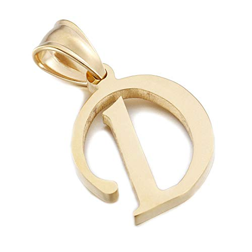 Kalapure 14K Gold Plated Stainless Steel Initial Pendant for Birthday Gifts - 26 Letters Alphabet Personalized Charms Pendant (D)