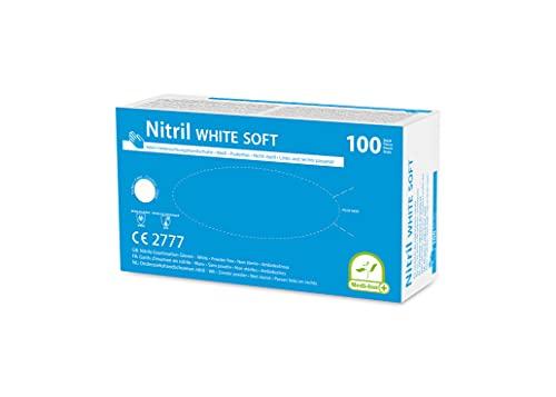 Einmalhandschuhe PF Nitril weiß Soft Medi-Inn (Menge: 100 Stück,Größe: M /7-8))