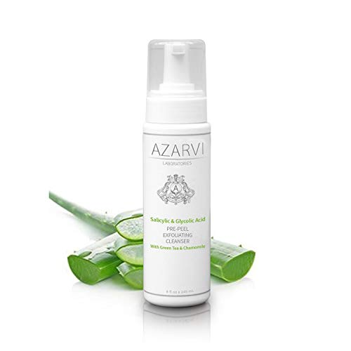 Azarvi Pre-Peel Glycolic and Salicylic Acid Exfoliating Cleanser (8 oz). Professional Anti Acne Face Wash. Contains Tea Tree Oil, Chamomile and Green Tea Extract