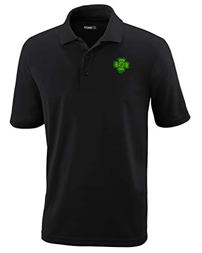 Speedy Pros Polo Performance Shirt Celtic Shamrock Symbole Embroidery Design Polyester Golf Shirt for Men Black Large Design Only