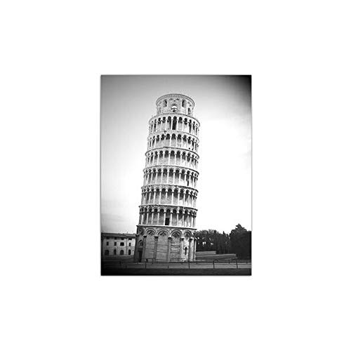 Minimalist Retro Poster Famous Leaning Tower of Pisa Painting Nordic Style Canvas Artwork Print Wall Pictures Bedroom Home Decor No Frame