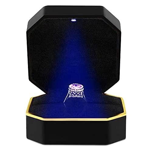 Boîte à bague avec lumière LED, boîte à bijoux, présentoir cadeau pour mariage, fiançailles, mariage. (BLACK)