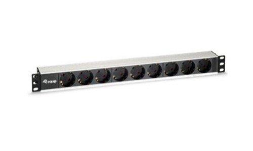Equip aluminium stekkerdoos 48,3 cm (19 inch) 1HE (9-voudig schuko, 1,8 m), zonder schakelaar