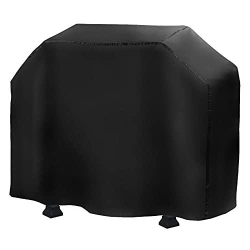 Copertura Barbecue Impermeabile,Telo Protettivo per BBQ Grill impermeabile Tessuto Oxford 210D con coulisse,Antivento, antipioggia, antipolvere,resistente ai raggi UV(Nero, grande, 145 × 61 × 117 cm)