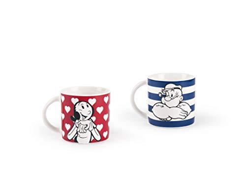 Excelsa Popeye & Olivia Set 2 tasses à café, Porcelaine, Rouge et Bleu