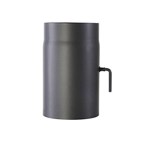 Kamino-Flam 331884, Tubo con Válvula para Chimenea, Acero, 15 x 0,2 x 25 , Gris, 2 Unidades