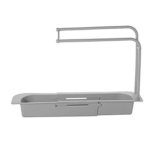 ALEOHALTER Soporte telescópico extraíble para fregadero para el hogar, escurridor de cocina (gris)