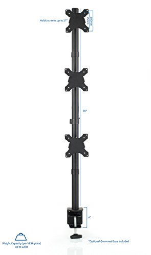 VIVO Triple LCD Monitor Desk Stand, Desktop Mount, Stacked Vertical 3 Screens up to 27 inches (STAND-V003V) Photo #2