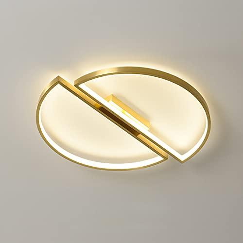 DEDVBJ LED Lámpara de Techo Moderno Ronda Luminaria Luz Ajustable Sencillo Oro Latón Acrílico Pantallas de lámparas Lámpara 52W Dormitorio Salón Habitación de Niños Oficina Balcón 55x4.5cm
