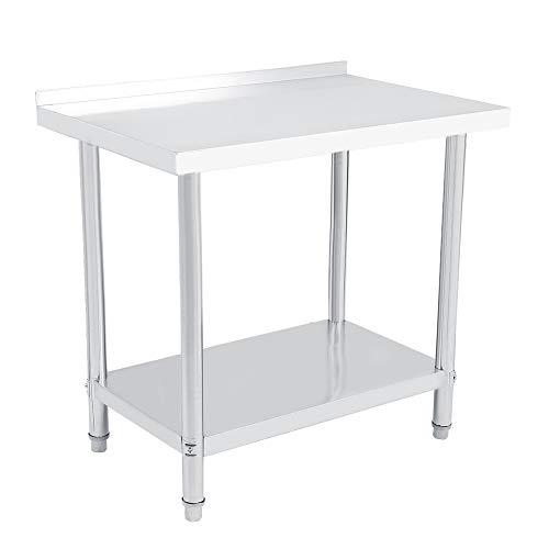 Mesa de operaciones 1 Uds, Plataforma de acero inoxidable de doble capa, mesa de operaciones, estación de trabajo, escritorio de cocina, 0,6 mm(3x2FT = 91X61CM)