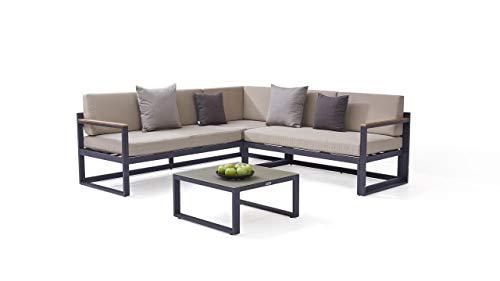 Aluminium Gartenmöbel Sitzgruppe in Anthrazit Naldo