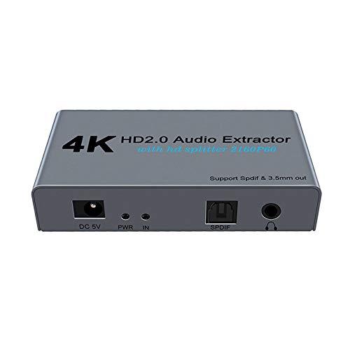 KuWFi 4K-HDMI-Splitter-Audio-Extraktor; 1-in-2-Out-HDMI auf SPDIF-optischer Toslink; mit 3,5-mm-Stereo-Audio-Ausgang-Video-Konverter-Adapter.