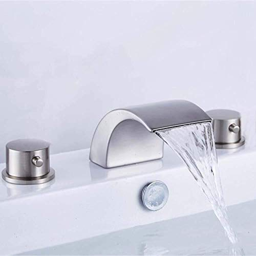 HYY-YY Waschtischarmatur Hardware Europäischer Stil gebürstet Dreiloch dreiteilig Silber Split Waschbecken Wasserhahn Badezimmer Armaturen Badezimmer Armaturen