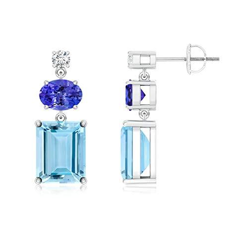 Oferta de Navidad–diamante, tanzanita y aguamarina pendientes colgantes para las mujeres