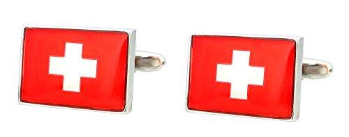 Unbekannt Schweiz Manschettenknöpfe Flagge v. d. Schweiz rot Weiss silberfarben glänzend Plus Box Sale stark reduziert!